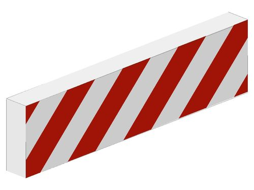 Tile 1 x 4 with Red and White Danger Stripes Red Pattern